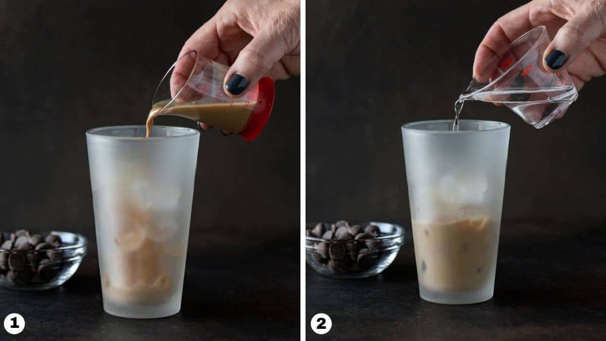 Hand pouring liqueur into a shaker.