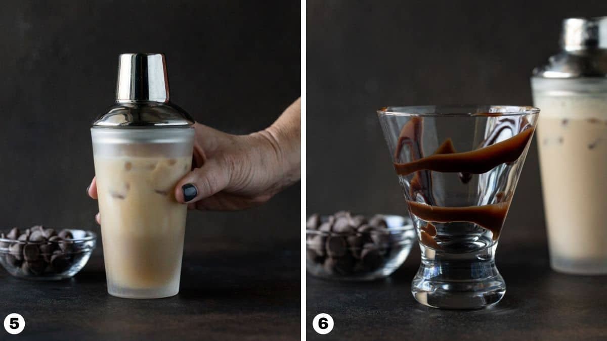 Hand holding shaker and cocktail glass swirled with chocolate sauce.