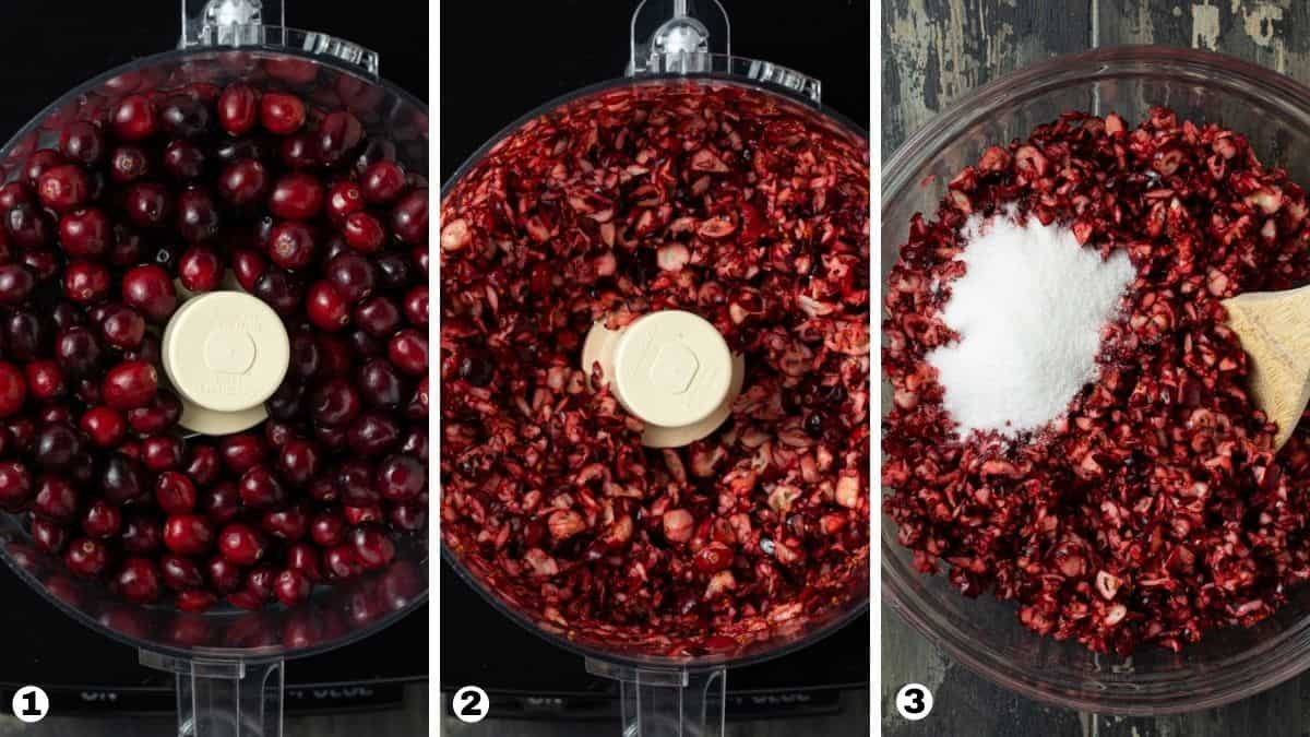 steps 1-3 for making cranberry salsa.