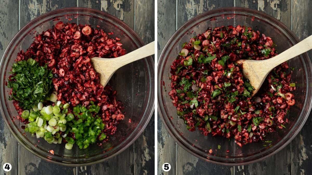 Steps 4-5 for making cranberry salsa.