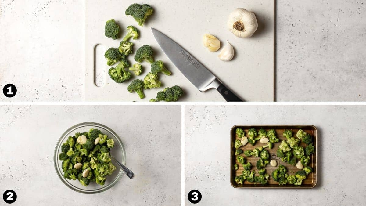 Steps 1-3 for making roasted broccoli.