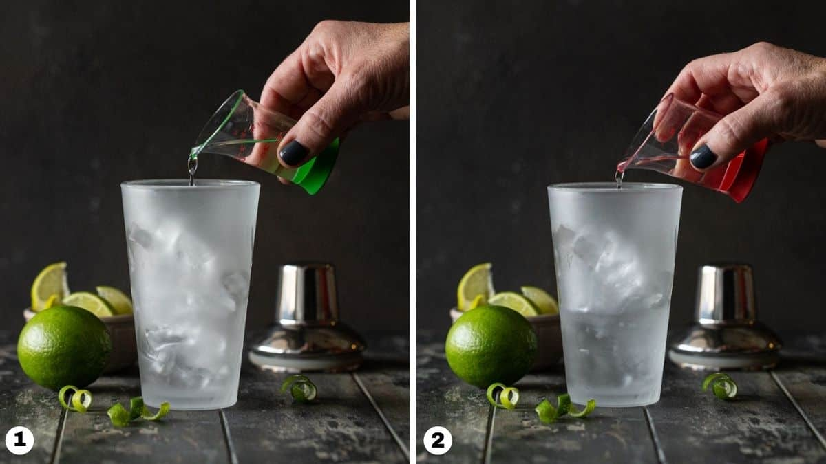 person pouring vodka and gin into shaker.