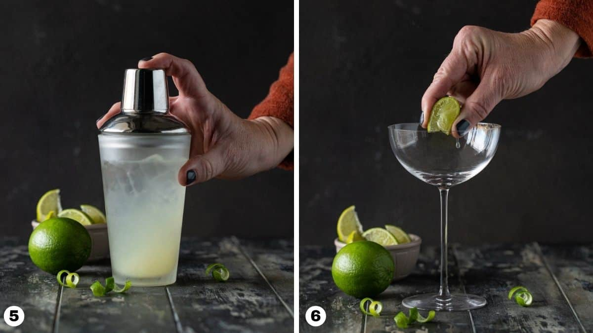 person holding cocktail shaker and person squeezing lime wedge into glass.