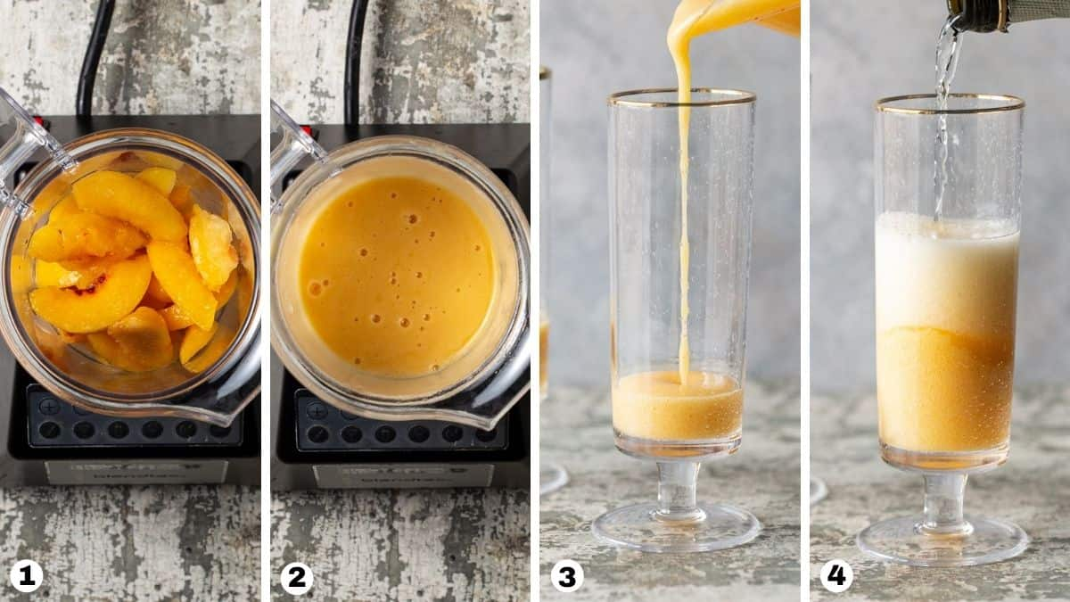 A glass of peach juice.