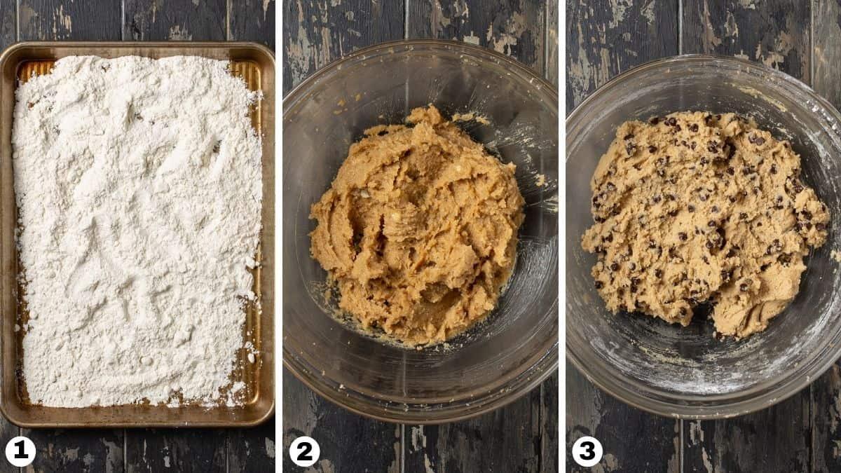 Bowls of truffle batter.