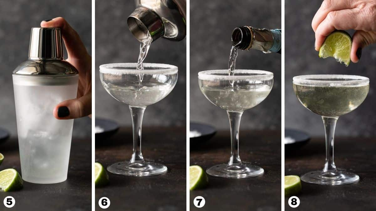 Shaker with ice, coupe glass being filled, prosecco pouring in glass, lime wedge being squeezed.