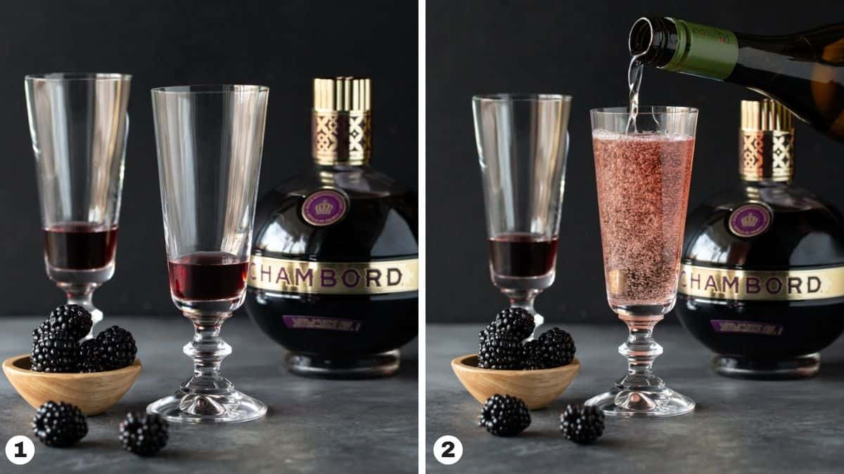 Steps 1-2 for making Kir Royale.