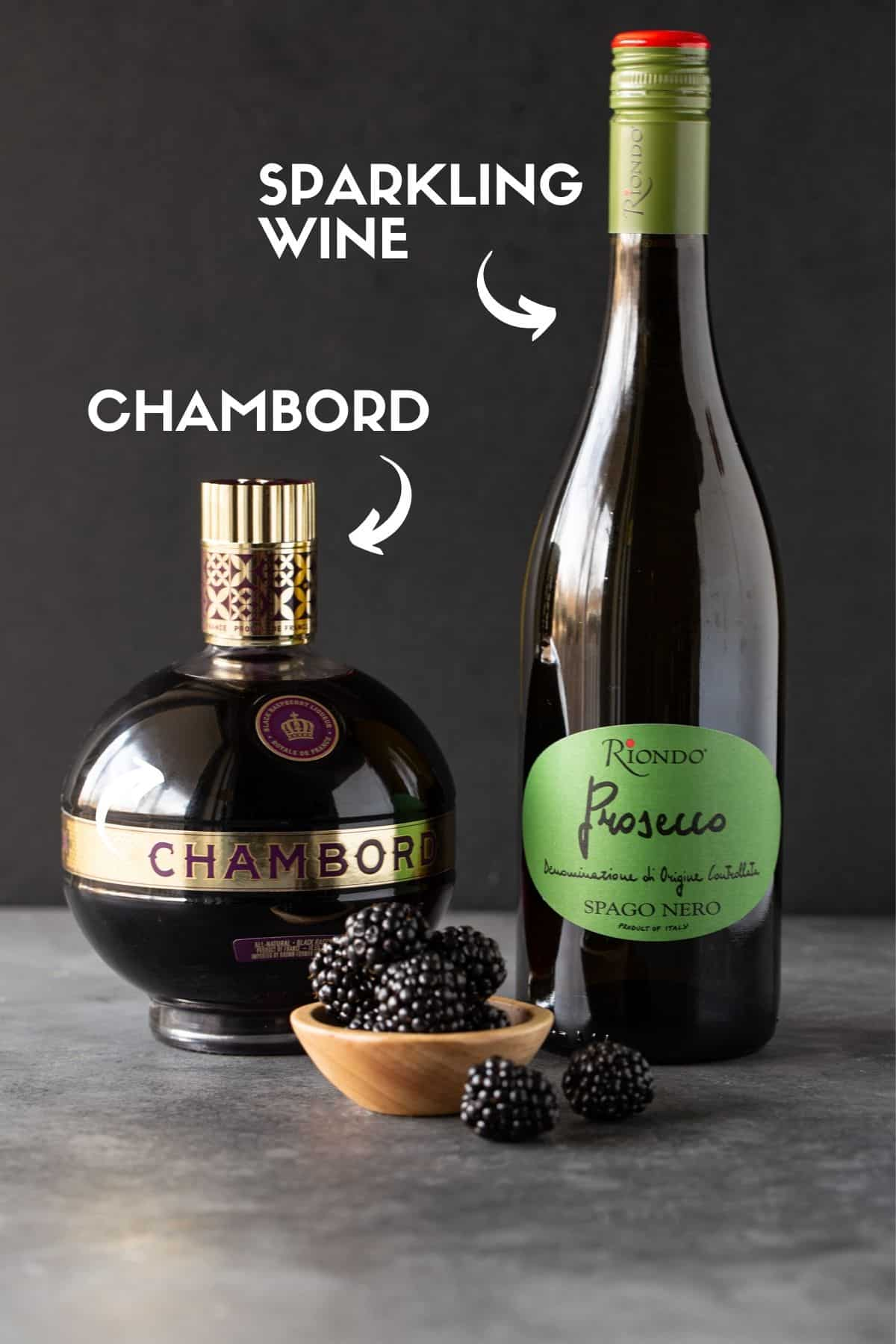 Bottle of Chambord and bottle of sparkling wine.