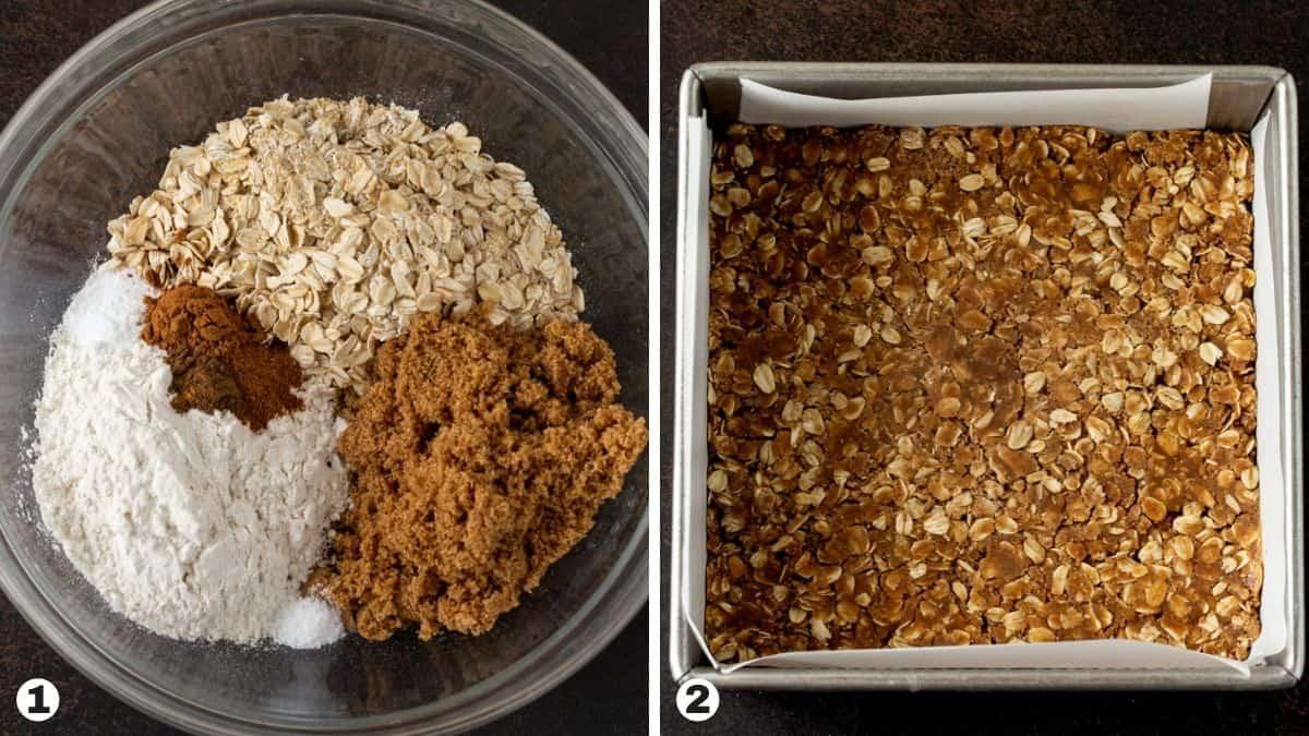 Apple bar crust ingredients in glass bowl. Apple bar crust pressed into pan.