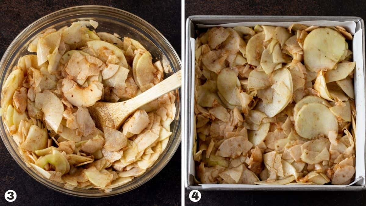 Seasoned sliced apples in glass bowl and then put into prepared pan.