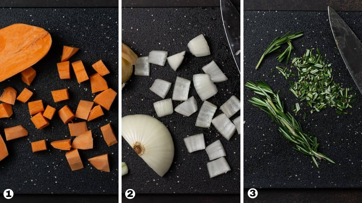 Steps 1-3 for roasting sweet potatoes and onions.
