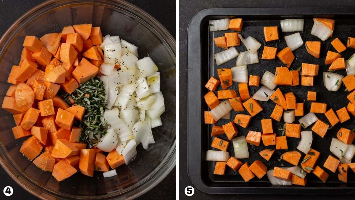Steps 4-5 for roasting sweet potatoes and onions.