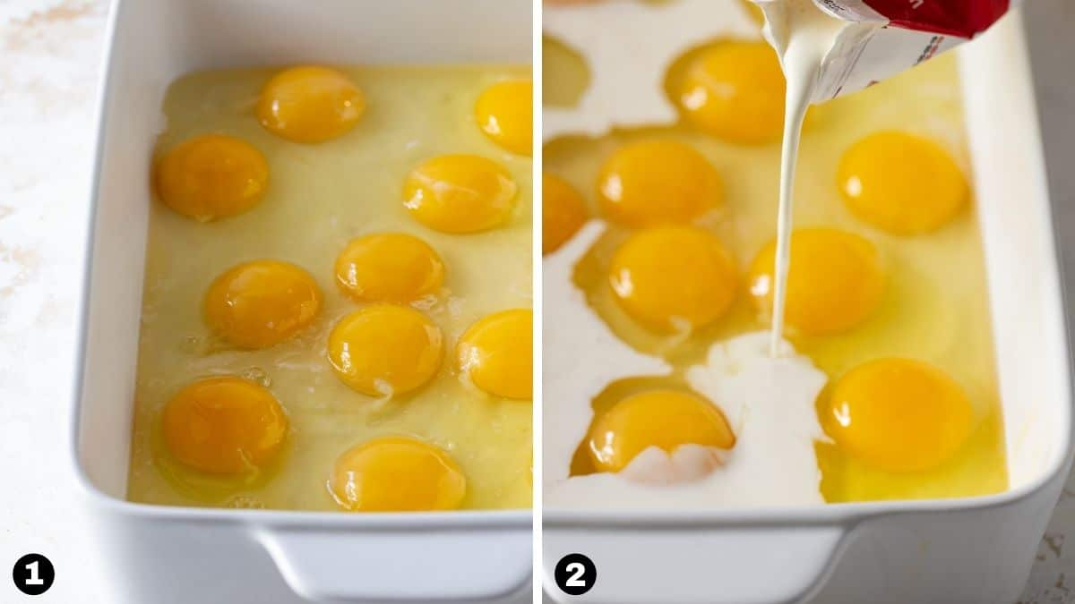 Step by step photos of making an overnight breakfast casserole.