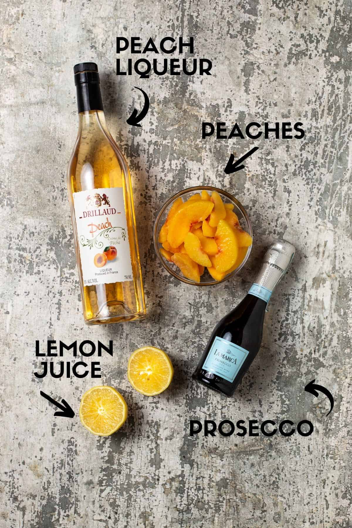 Text for bellini ingredients.