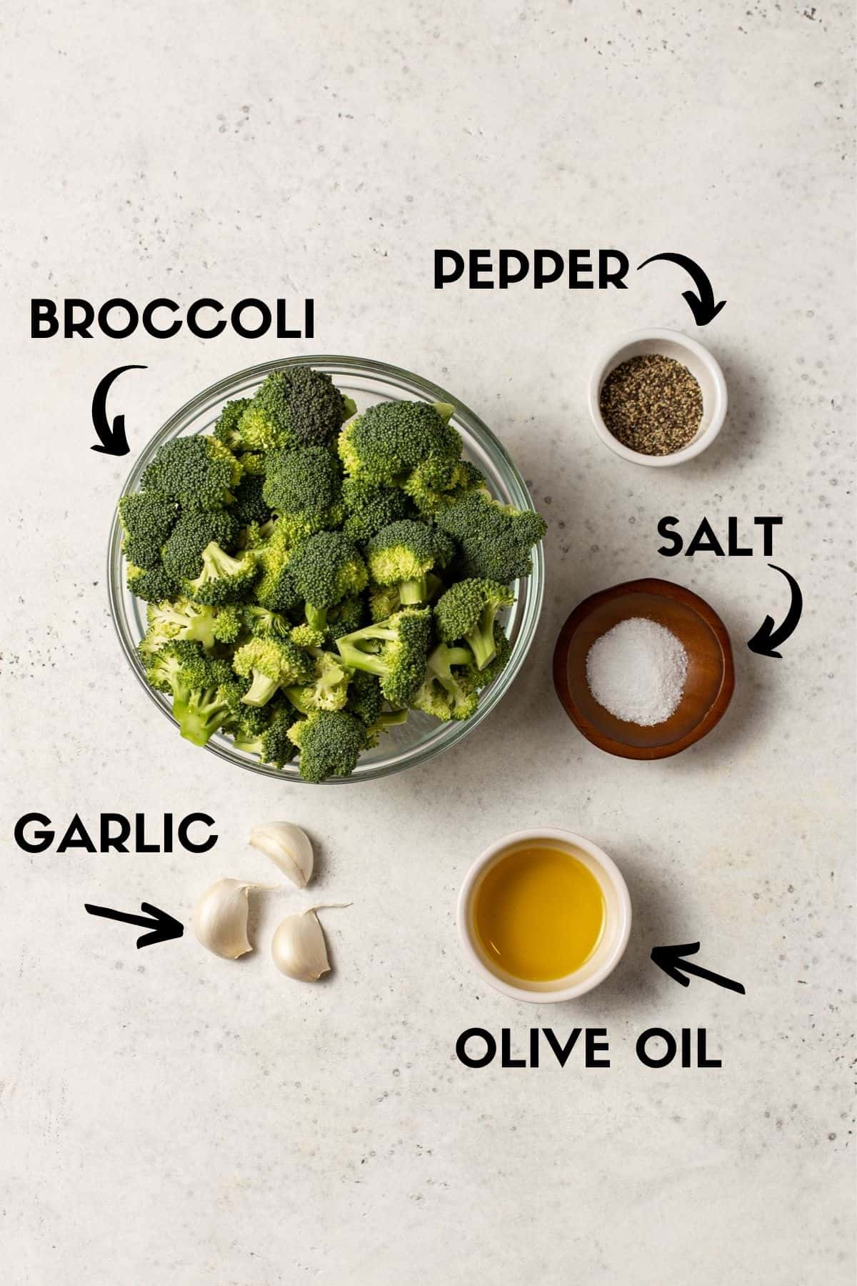Roasted broccoli ingredients in bowls.