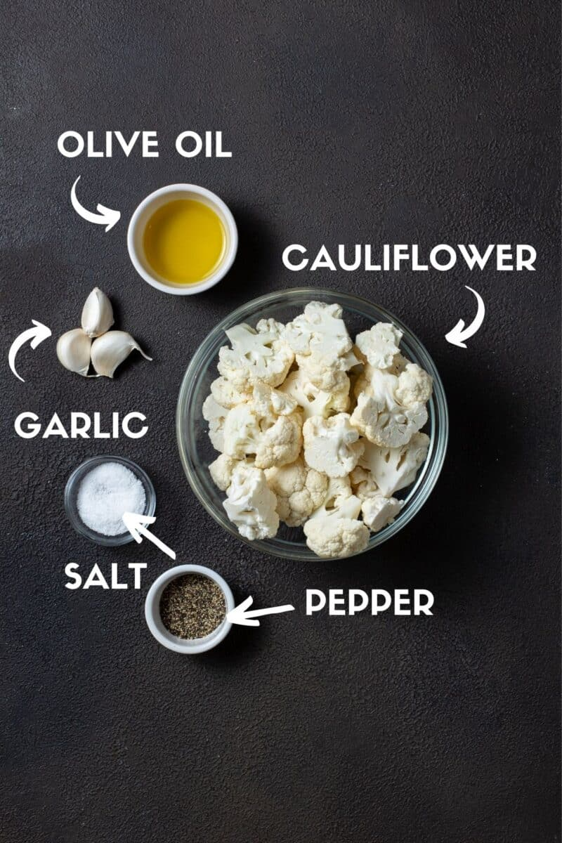 ingredients on board for roasted cauliflower.