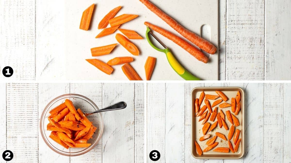 Step by step photos for making roasting carrots.