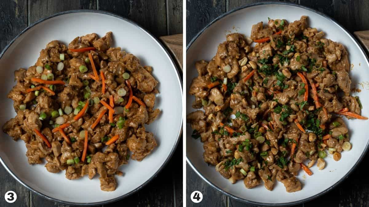 Steps 3-4 for making Thai Peanut chicken lettuce wraps.