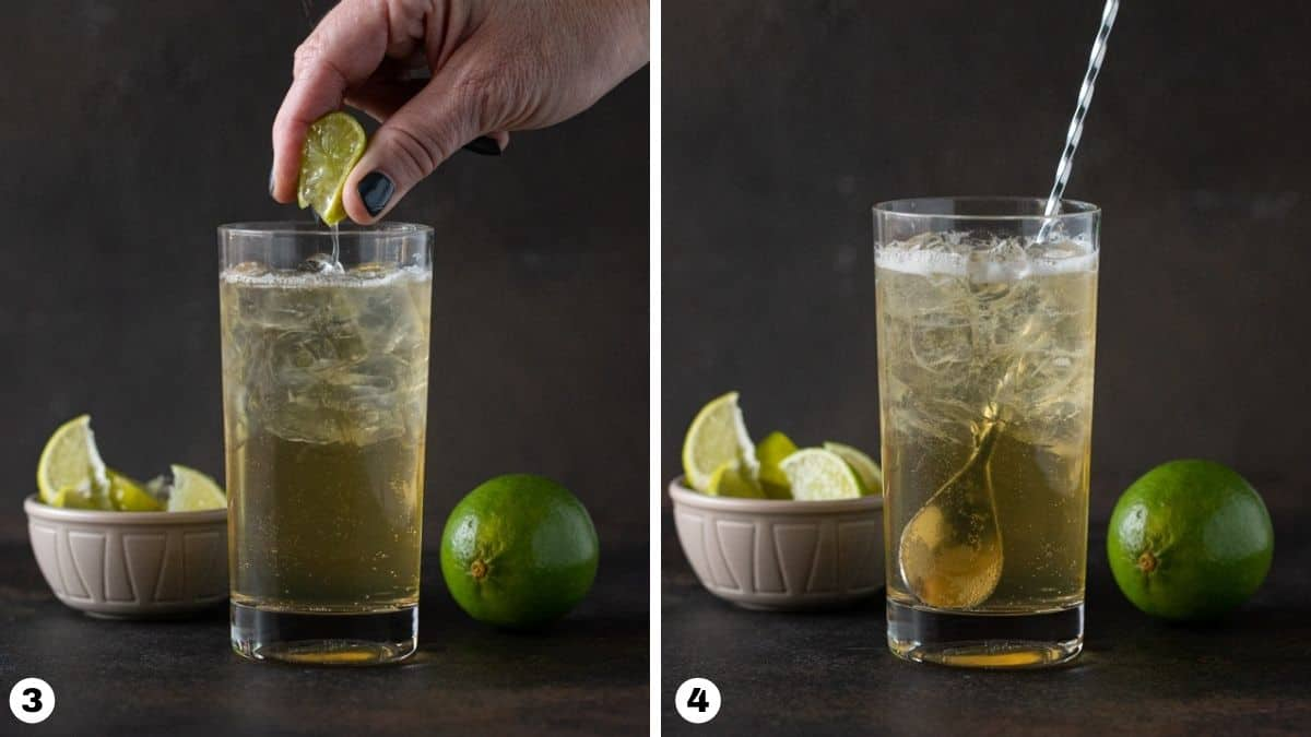 Steps 3-4 of making cocktail: squeezing lime into glass and stirring drink.