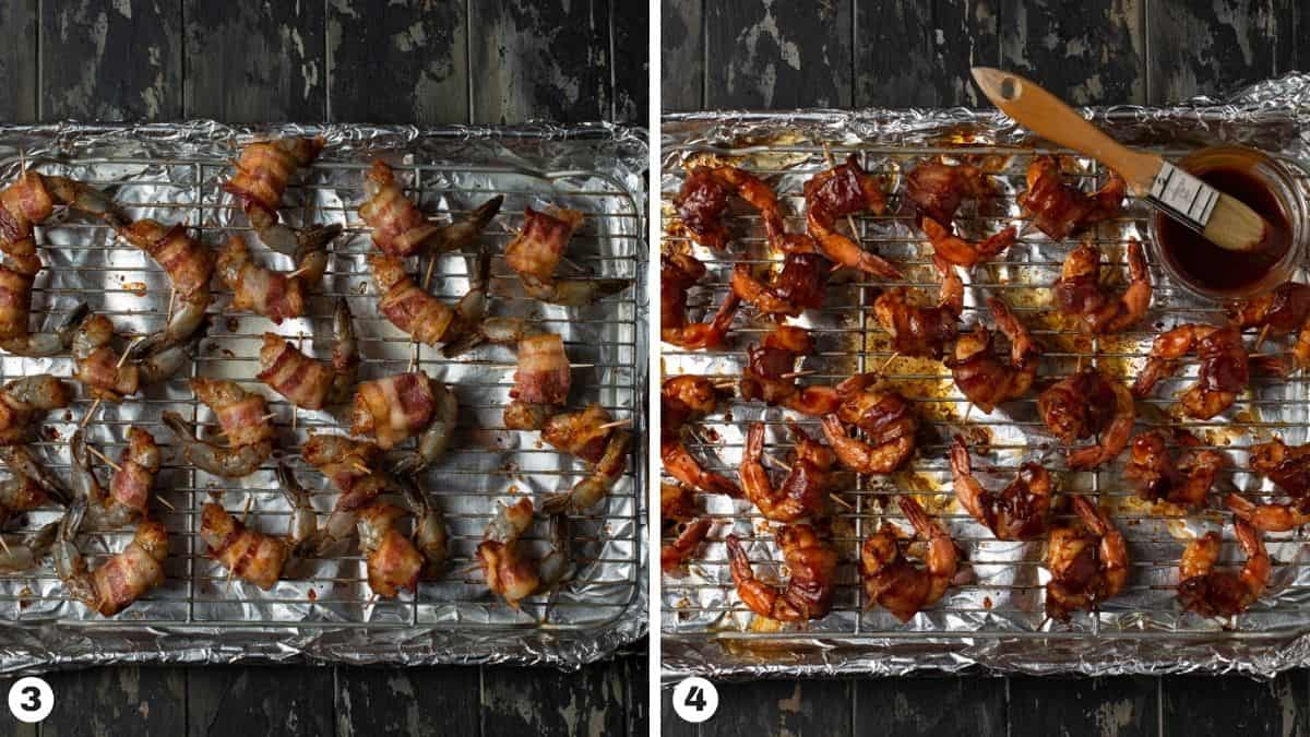 shrimp on baking sheet, with barbecue sauce.