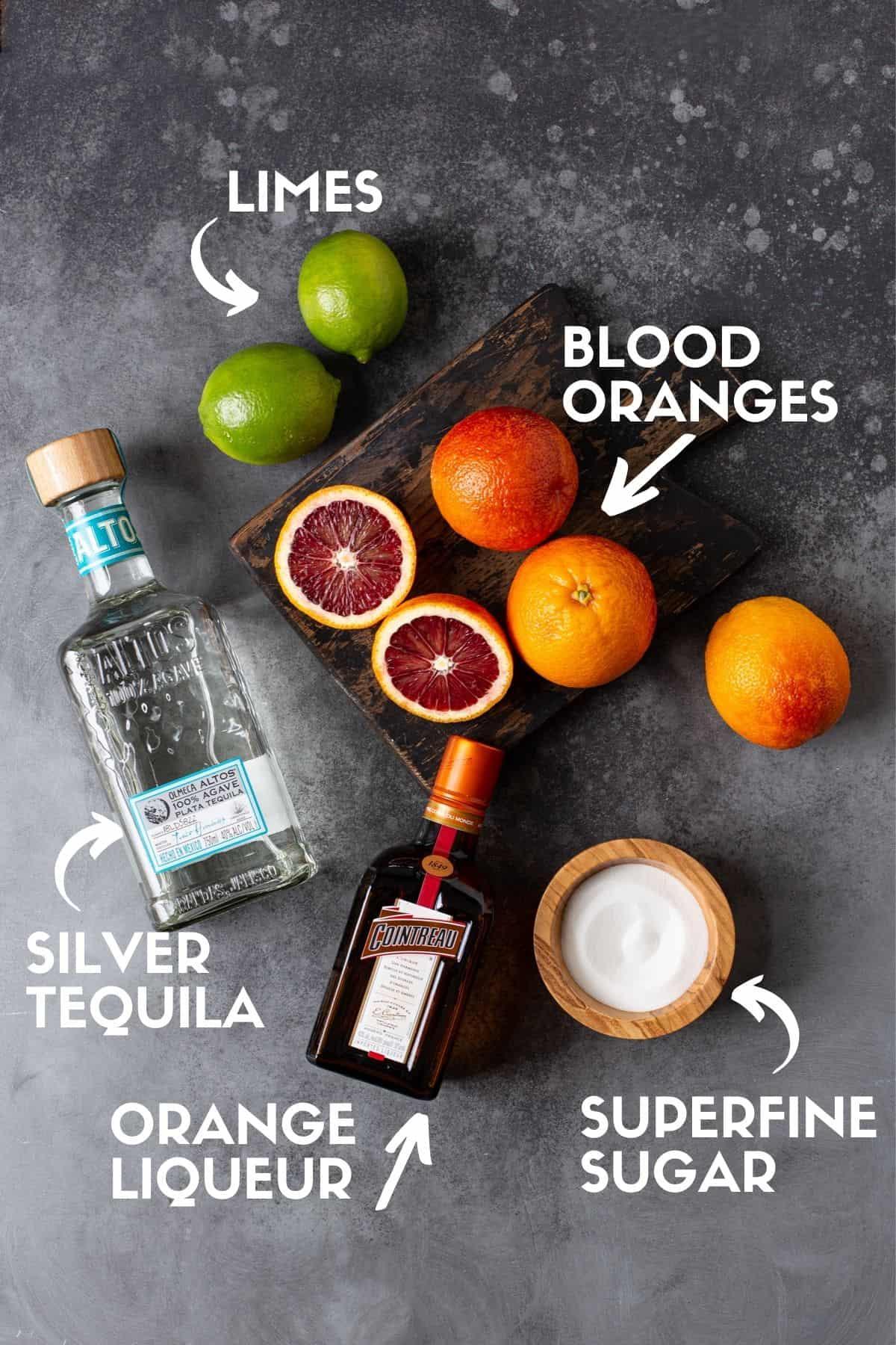 Margarita ingredients, including citrus juices, tequila and orange liqueur.
