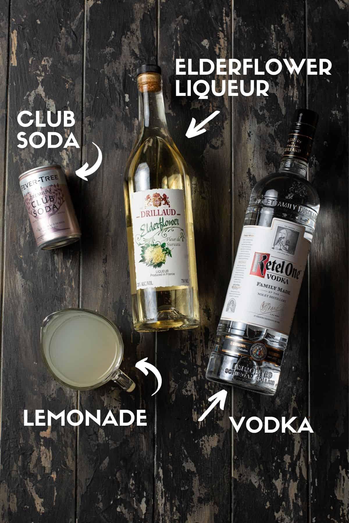 ingredients needed to make elderflower vodka lemonade.