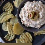 Dip in bowl on plate with chips.