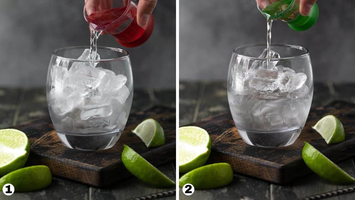 Steps 1-2 for making an elderflower  gin and tonic.