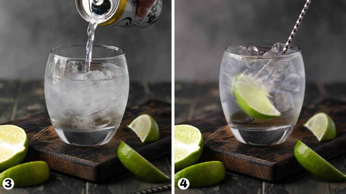 Steps 3-4 for making an elderflower  gin and tonic.
