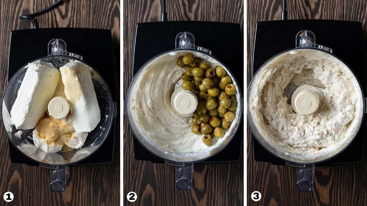 steps 1-3 of making green olive dip.