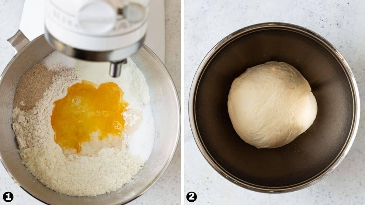 Steps 1-2 for making homemade potato rolls.