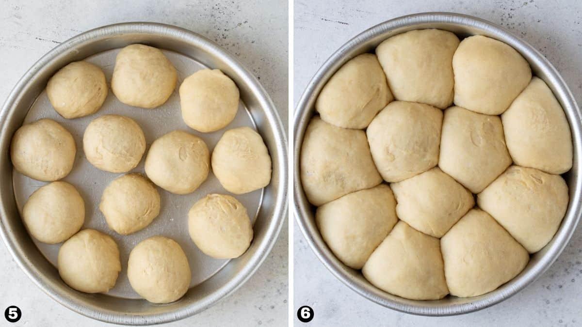 Steps 5-6 for making homemade potato rolls.