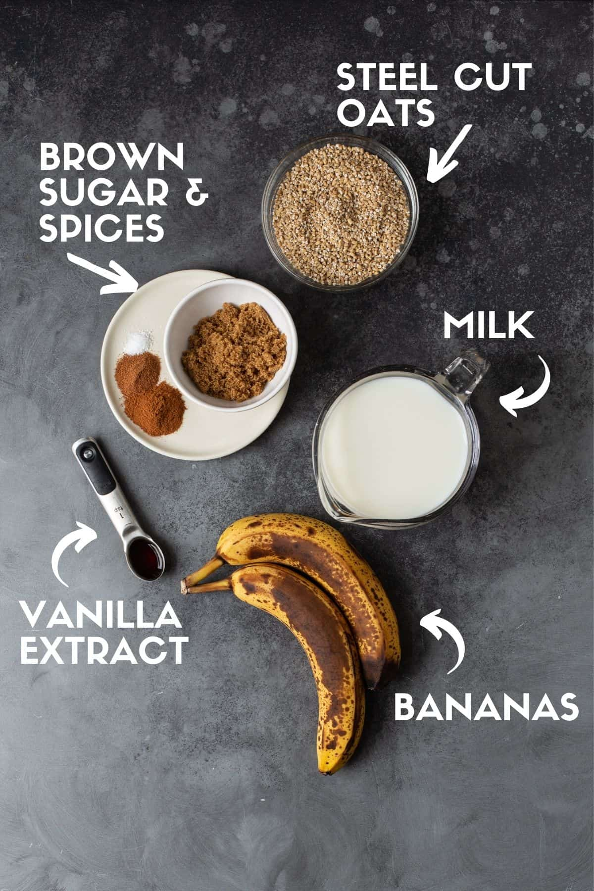 Ingredients for oatmeal, including steel cut oats, bananas, milk, sugar & spices.