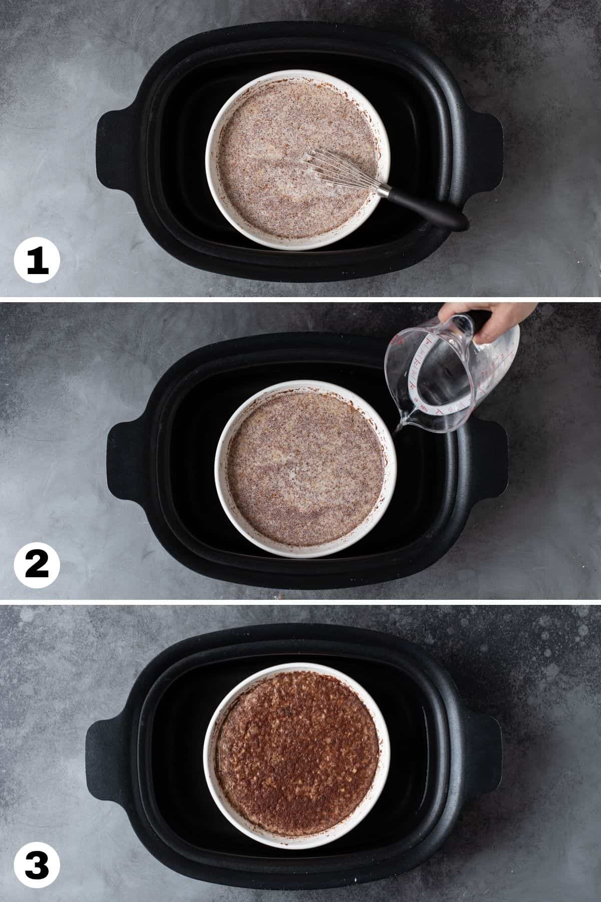Step by step instructions for making oatmeal in slow cooker.