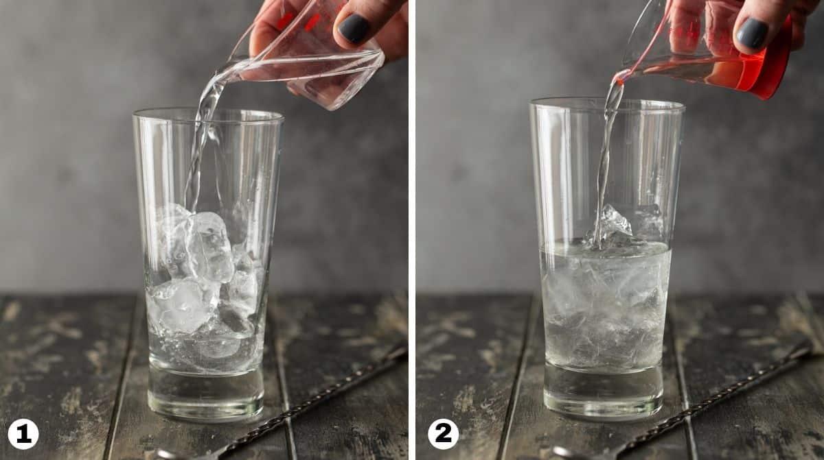 steps 1 and 2 in making vodka lemonade.