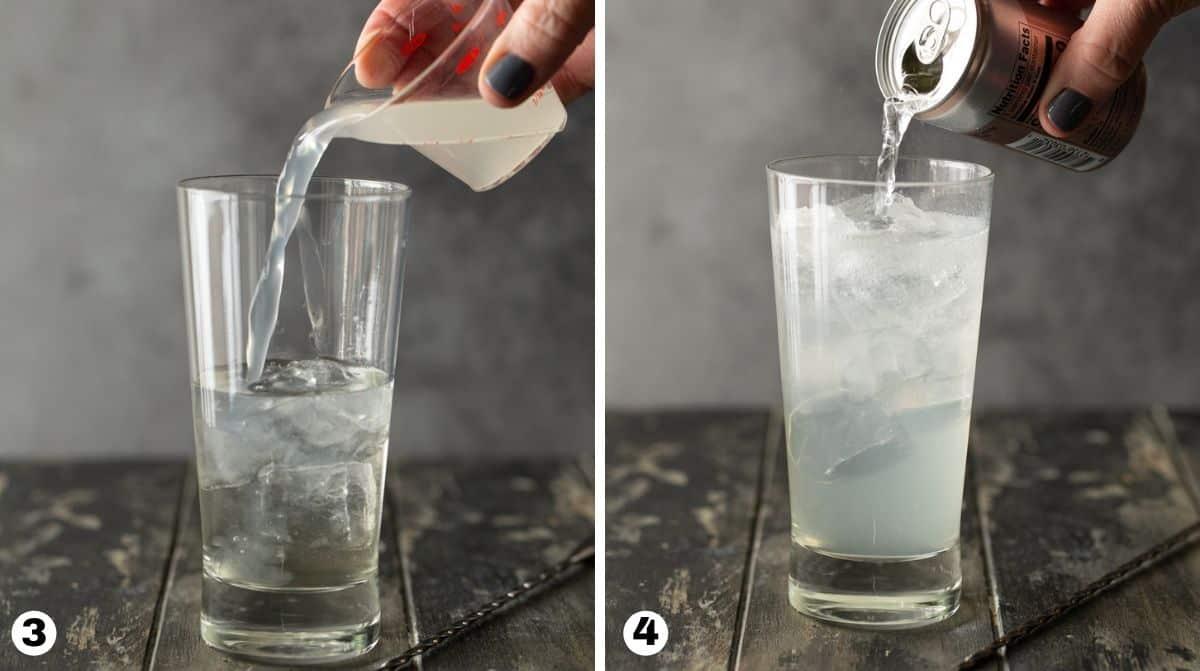 Steps 3 and 4 in making vodka lemonade.