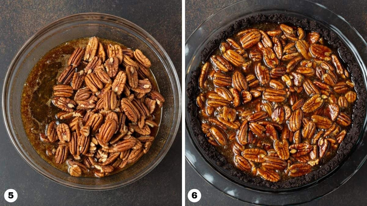 Steps 5 and 6 for making Bourbon Pecan Pie.