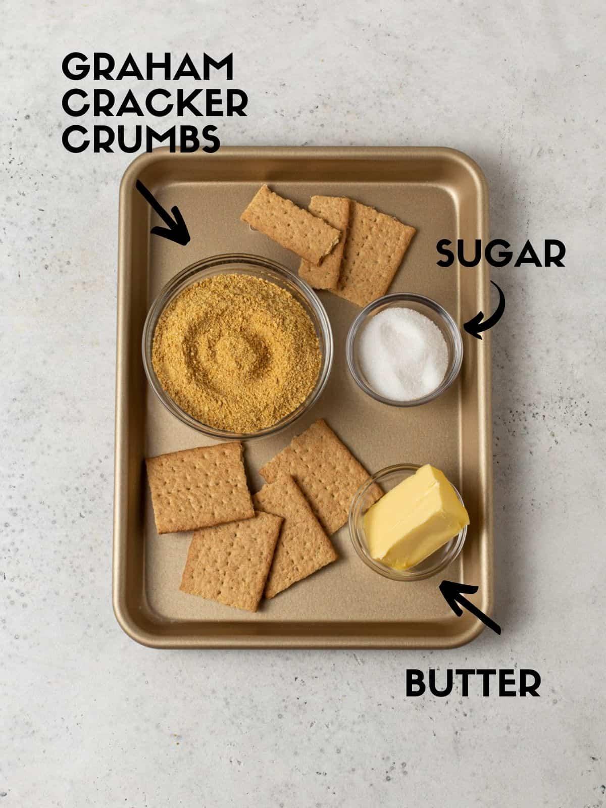 Ingredients for crust on sheet pan.