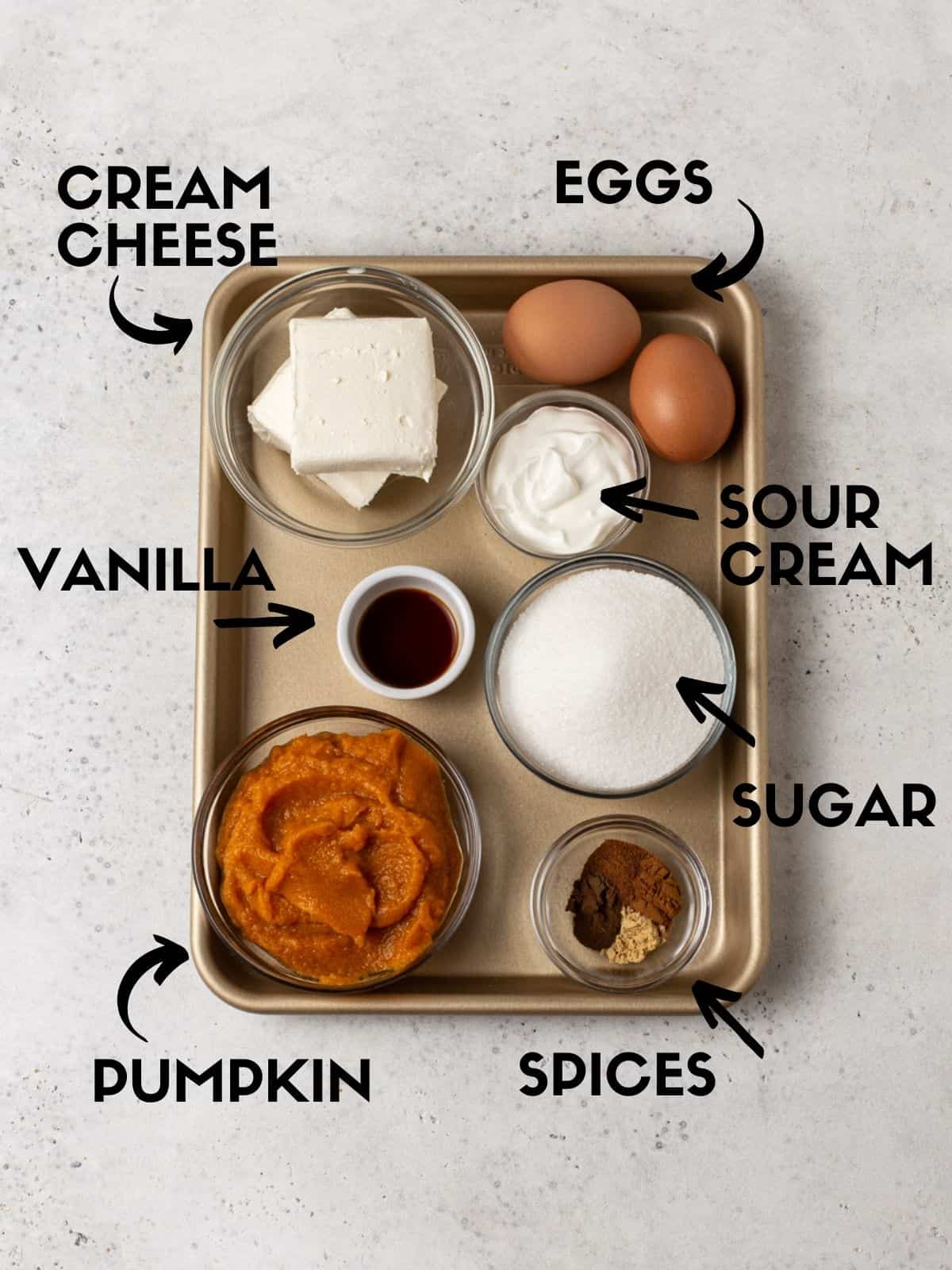 Ingredients for layered pumpkin cheesecake pie filling.