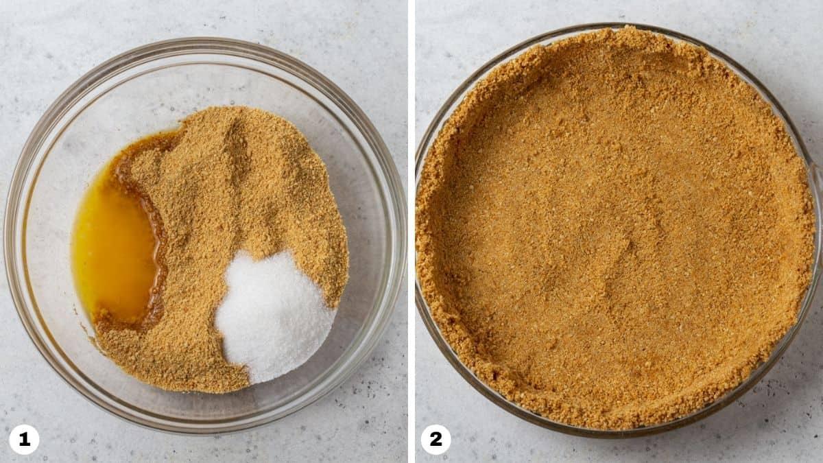Steps 1 and 2 for making graham cracker crust.