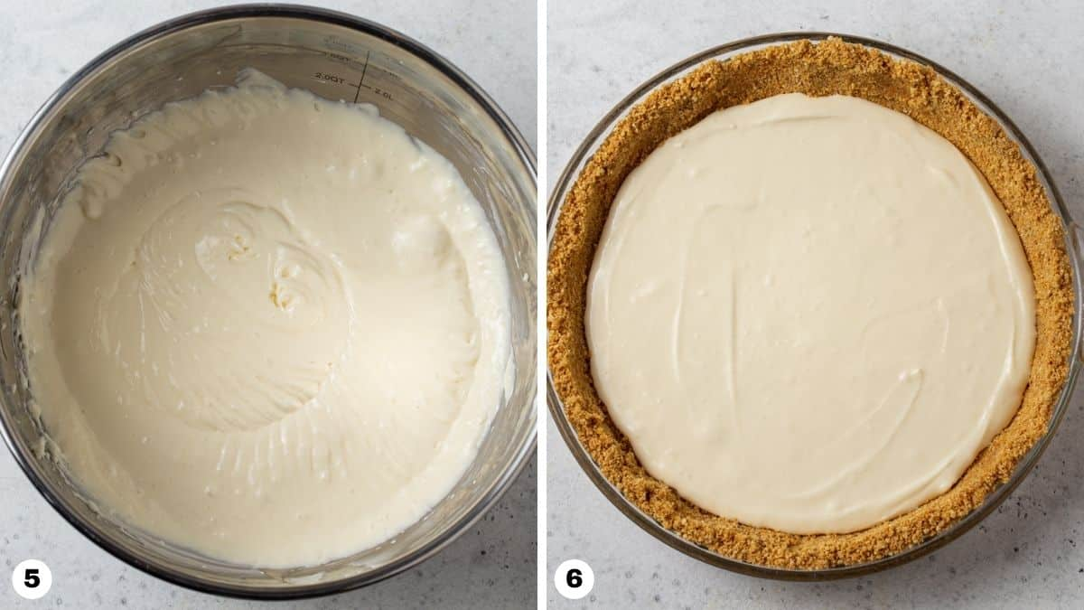 Steps 5 and 6 for making Layered Pumpkin Cheesecake Pie.