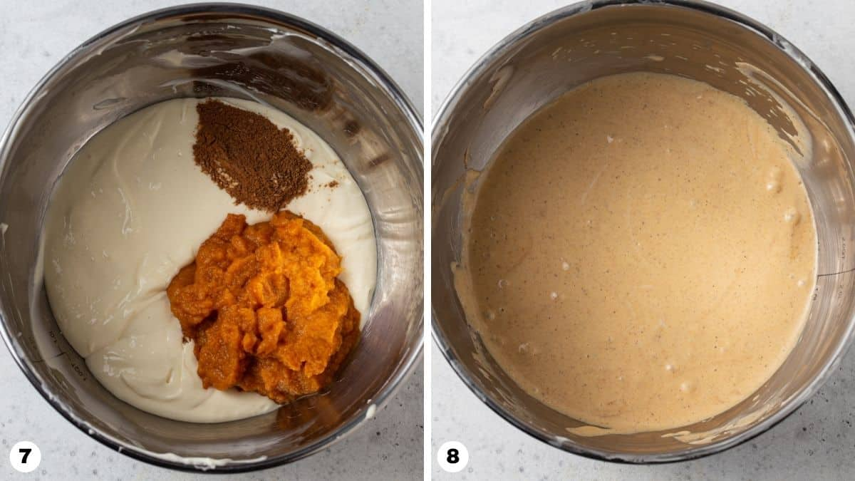 Steps 7 and 8 for making Layered Pumpkin Cheesecake Pie.