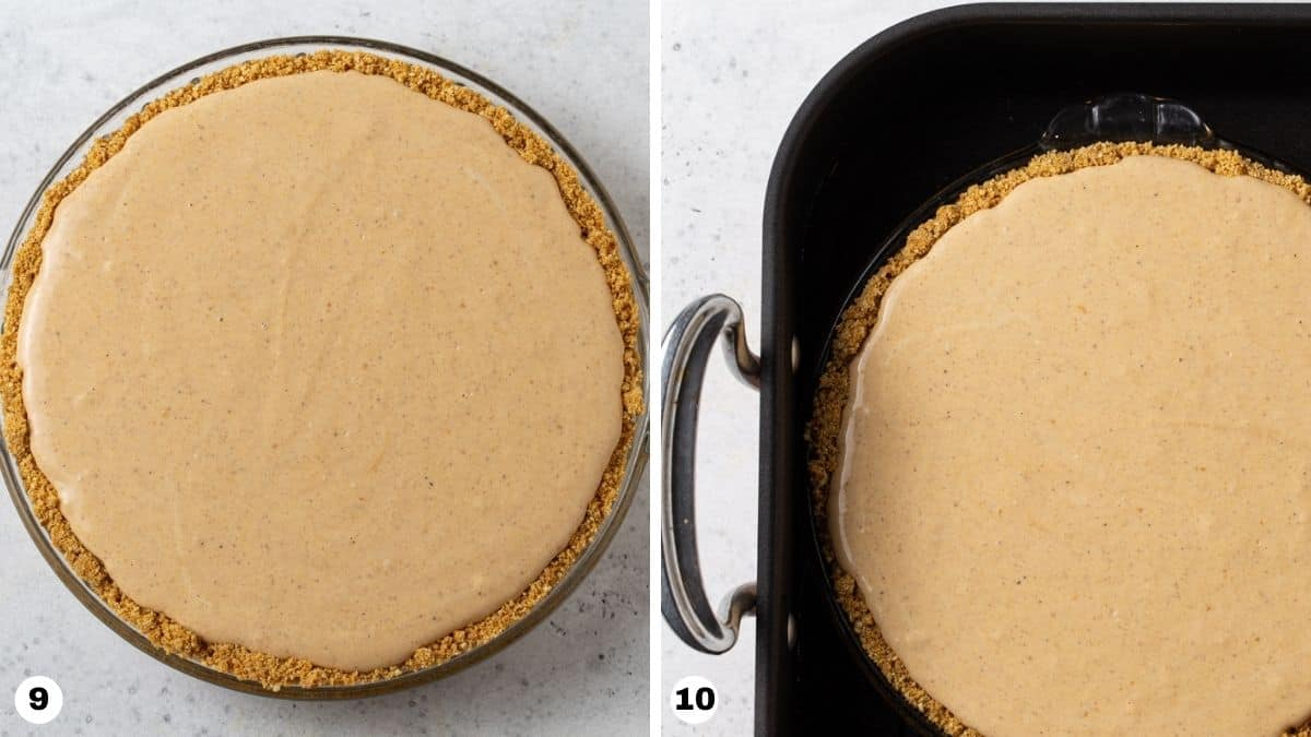 Steps 9 and 10 for making Layered Pumpkin Cheesecake Pie.