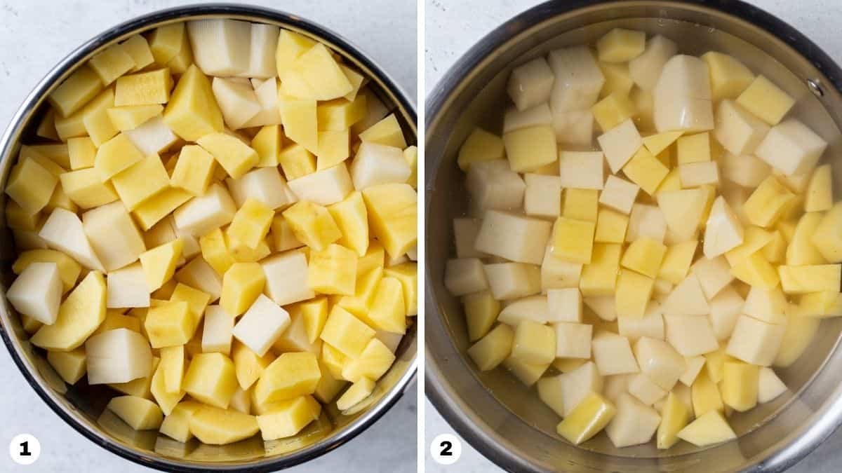 Cubed potatoes in a pot of water.