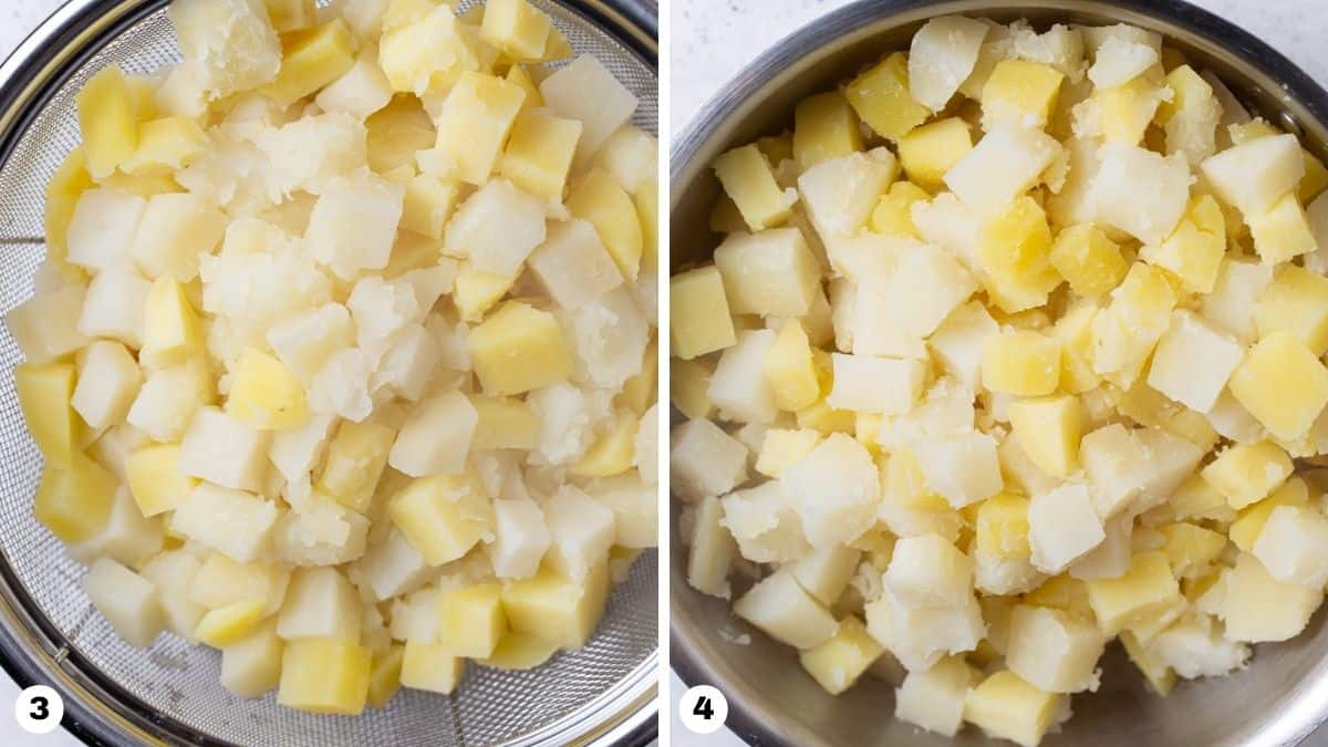 Cooked potatoes drained in a colander.