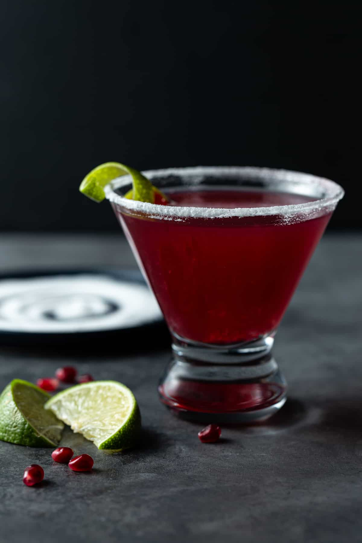 A martini in a rimmed glass.