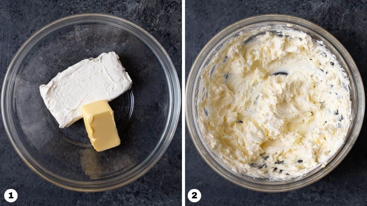 Steps 1 and 2 for making cream cheese pumpkin dip.