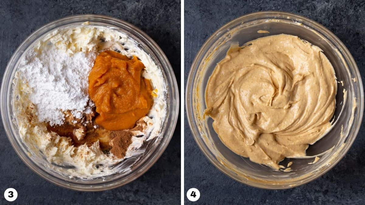 Steps 3 and 4 for making cream cheese pumpkin dip.