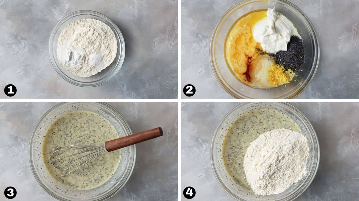 Mixing dry and wet ingredients together to make lemon poppy seed bread.