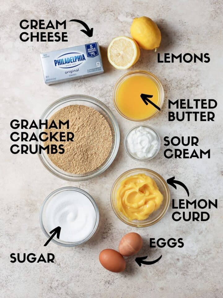 Ingredients for lemon cheesecake bars.